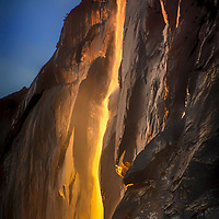 Yosemite's Horsetail Falls in mid-February, when the setting sun makes the water appear like flowing lava.