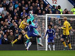 Asmir Begovic of Chelsea claims a cross - Mandatory byline: Robbie Stephenson/JMP - 10/01/2016 - FOOTBALL - Stamford Bridge - London, England - Chelsea v Scunthrope United - FA Cup Third Round
