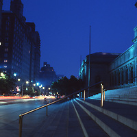 The Metropolitan Museum of Art on Fifth Ave in New York City seen at night.