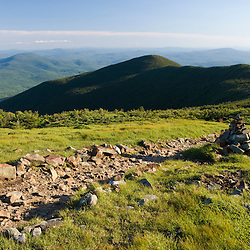 The Appalachian Trail on the summit of Mount Moosilauke in New Hampshire's White Mountains.  Benton, New Hampshiire.