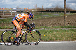 Chantal Blaak's lead is growing. Gaining over a minute on the best of the rest - Women's Gent Wevelgem 2016, a 115km UCI Women's WorldTour road race from Ieper to Wevelgem, on March 27th, 2016 in Flanders, Belgium.