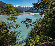 In this 2019 photo, Dart River forms a blue-green lake in Dredge Flat, dammed by the 2014 Jan 04 landslide, which required rough, rooty rerouting of three sections of the Rees-Dart Track, reopened in late 2017. Suspended glacial powder colors the lake turquoise. In 5 days, we tramped the strenuous Rees-Dart Track for 39 miles plus 12.5-mile side trip to spectacular Cascade Saddle, in Mount Aspiring National Park, Otago region, South Island of New Zealand. This image was stitched from multiple overlapping photos.