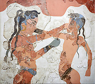 Minoan 'Boxing Children' fresco Wall painting from Akrotiri, Thira (Santorini). National archaeological Musuem Athens artefact. 17th-16th cent BC.<br /> <br /> The 'Boxing Children' fresco depicts two naked boys wearing belts and boxing gloves. Their heads are shaved but for two long locks at the back and two shorter ones on their forehead. Their dark complexion indicated thair gender. The boy on the left is the more reserved of the two and wears jewelry consisting of a necklace and two bracelets, one on his arm and the other around his ankle, which indicated his higher social status. From room B1 of building B. .<br /> <br /> If you prefer to buy from our ALAMY PHOTO LIBRARY  Collection visit : https://www.alamy.com/portfolio/paul-williams-funkystock/minoan-art-artefacts.html . Type -   Athens    - into the LOWER SEARCH WITHIN GALLERY box. Refine search by adding background colour, place, museum etc<br /> <br /> Visit our MINOAN ART PHOTO COLLECTIONS for more photos to download  as wall art prints https://funkystock.photoshelter.com/gallery-collection/Ancient-Minoans-Art-Artefacts-Antiquities-Historic-Places-Pictures-Images-of/C0000ricT2SU_M9w