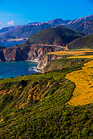 Overlooking the Bixby Bridge from Hurricane Point along the Big Sur coast between Carmel Highlands and Big Sur, California USA.