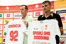 Jaka Daneu and Velimir Perasovic during press conference of Adecco Ex-Yu Cup 2012 as part of exhibition games 2012, on August 3rd, 2012, in Arena Stozice, Ljubljana, Slovenia. (Photo by Urban Urbanc / Sportida)