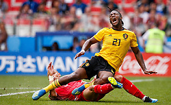 June 23, 2018 - Moscou, Rússia - MOSCOU, MO - 23.06.2018: BÉLGICA Y TÚNEZ - Yohan Ben Alouane of Tunisia contests ball with Michy Batshuayi of Belgium during match between Belgium and Tunisia valid for the second round of Group G of the 2018 World Cup held at the Otkrytie Arena in Moscow, Russia. (Credit Image: © Marcelo Machado De Melo/Fotoarena via ZUMA Press)