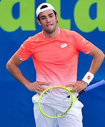 Matteo Berrettini of Italy reacts during his game against  Roberto Bautista Agut of Spain at the first round of ATP Qatar Open Tennis match at the Khalifa International Te?nnis Complex in Doha, capital of Qatar, on December 31, 2018.Bautista Agut  won 2-0  (Credit Image: © Yangyuanyong/Xinhua via ZUMA Wire)