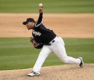 GLENDALE, AZ - MARCH 05:  Pedro Hernandez #58 of the Chicago White Sox pitches against the Los Angeles Dodgers on March 5, 2012 at The Ballpark at Camelback Ranch in Glendale, Arizona. The Dodgers defeated the White Sox 6-4.  (Photo by Ron Vesely)  Subject:  Pedro Hernandez