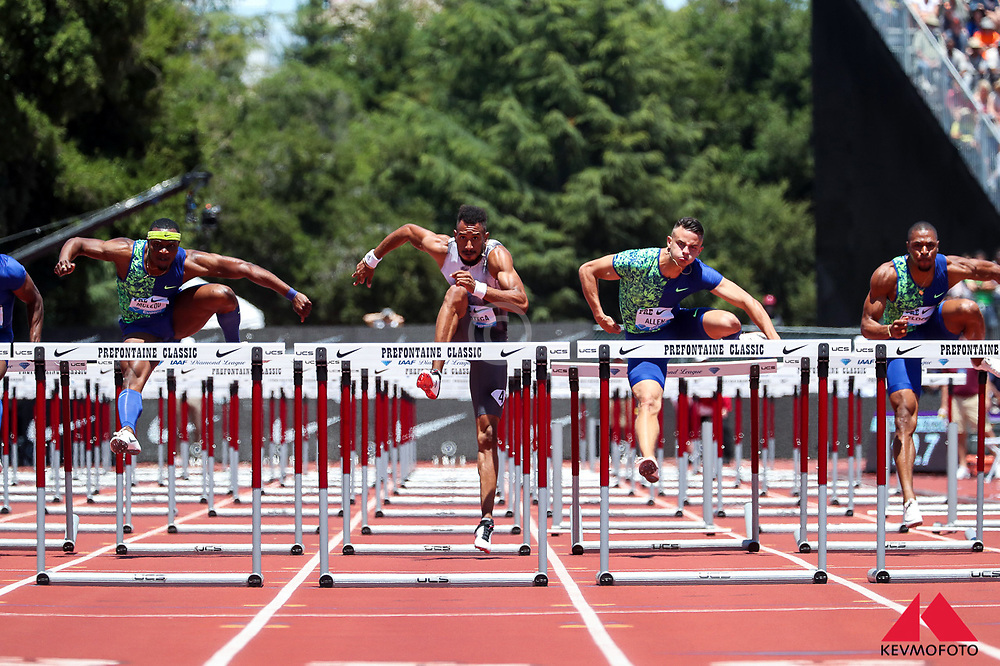 Orland Ortega, Spain, wins mens 110 meter hurdles in 13.24, beating Devon Allen and Omar McLeod at 2019 The Prefontaine Classic Track & Field<br /> IAAF Diamond League
