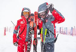 11.02.2020, Zwölferkogel, Hinterglemm, AUT, FIS Weltcup Ski Alpin, Abfahrt, Herren, 1. Training, Absage, im Bild v.l. Andreas Puelacher (Sportlicher Leiter ÖSV Ski Alpin Herren), Toni Giger (ÖSV Sportdirektor) // f.l. Andreas Puelacher Austrian Ski Association head Coach alpine Men's Toni Giger Austrian Ski Association sporting director after the cancellationof the 1st trainingsrun of Mens Downhill of FIS Ski Alpine World Cup at the Zwölferkogel in Hinterglemm, Austria on 2020/02/11. EXPA Pictures © 2020, PhotoCredit: EXPA/ Johann Groder