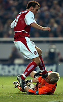 Photo. Javier Garcia<br />19/03/2003 Valencia v Arsenal, Champions League second phase, Estadio Mestalla<br />Freddie Ljungberg collides with Santiago Canizares which resulted in the Spanish number one being stretchered off with a serious facial injury