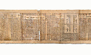 Ancient Egyptian Book of the Dead papyrus - Spell 126 - what to say in the judgement before Osiris, Iufankh's Book of the Dead, Ptolemaic period (332-30BC).Turin Egyptian Museum. White Background<br /> <br /> Spell 125 instruct the deceased as to waht to say infront of Osiris and the Forty Two Judges in the Hall of Two Maat, the netherworlds Judgement Hall. <br /> <br /> The translation of  Iuefankh's Book of the Dead papyrus by Richard Lepsius marked a truning point in the studies of ancient Egyptian funereal studies. .<br /> <br /> If you prefer to buy from our ALAMY PHOTO LIBRARY  Collection visit : https://www.alamy.com/portfolio/paul-williams-funkystock/ancient-egyptian-art-artefacts.html  . Type -   Turin   - into the LOWER SEARCH WITHIN GALLERY box. Refine search by adding background colour, subject etc<br /> <br /> Visit our ANCIENT WORLD PHOTO COLLECTIONS for more photos to download or buy as wall art prints https://funkystock.photoshelter.com/gallery-collection/Ancient-World-Art-Antiquities-Historic-Sites-Pictures-Images-of/C00006u26yqSkDOM