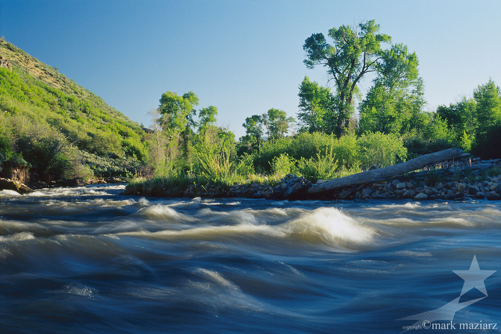 time exposure of Provo River flowing through Francis, UT USA