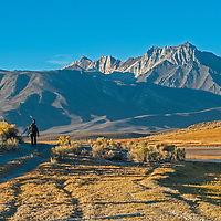 A photographer walks below Mount Baldwin, The White Fang and Mount Morrison of the Eastern Sierra Nevada crest above Big Alkali Lake and Long Valley near Mammoth Lakes, California.
