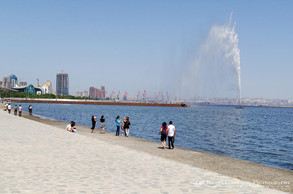 Azerbaijan, Baku. Baku Boulevard is a promenade that runs parallel to Baku's seafront.