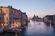 Sunrise on the Canal Grande from Ponte dell'Acaademia. Venice Italy, Europe