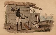 Indian cotton bower and his wife who is weaving a narrow strip of cloth.  Before the invention of the cotton gin, raw cotton was bowed to remove the seeds before carding and spinning.  Hand-coloured engraving published Rudolph Ackermann, London. 1822.