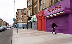 Glasgow, Scotland, UK. 3 April, 2020. Images from the south side of Glasgow at the end of the second week of Coronavirus lockdown. Many closed and shuttered shops off Victoria Road in Govanhill.  Iain Masterton/Alamy Live News