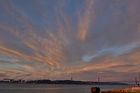 Sunrise Panorama over the Tagus River in Lisbon. Seven of eight images taken with a Leica CL camera and 23 mm f/2 lens (ISO 200, 23 mm, f/8, 1/60 sec). Raw images processed with Capture One Pro and AutoPano Giga.