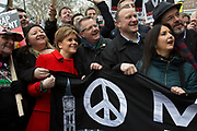 London, UK. Saturday, February 27th 2016. Scottish National party leader and Scotland's First Minister Nicola Sturgeon at the start of the Stop Trident: CND demonstration against Britain's Trident nuclear weapons system. Thousands of protesters made this Britain's biggest anti-nuclear weapons rally in a generation. Demonstrators gathered from far and wide to protest against the renewal of Trident. Many coming from Scotland, where Britain's nuclear deterrent is based.