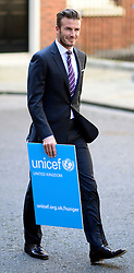 © Licensed to London News Pictures.FILE PICTURE FROM 26/07/2012. Westminster, UK. David Beckham in Downing Street in his role as a Goodwill Ambassador for UNICEF. Recently published hacked e-mails, allegedly from David Beckham, reveal his thoughts on not receiving an honour from Queen Elizabeth II. Photo credit : Stephen Simpson/LNP
