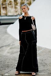 Street style, Mia Regan arriving at Stella McCartney Spring Summer 2022 show, held at Espace Niemeyer, Paris, France, on October 4, 2021. Photo by Marie-Paola Bertrand-Hillion/ABACAPRESS.COM