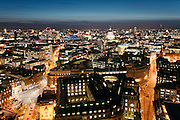 london night aerial city st pauls cathedral