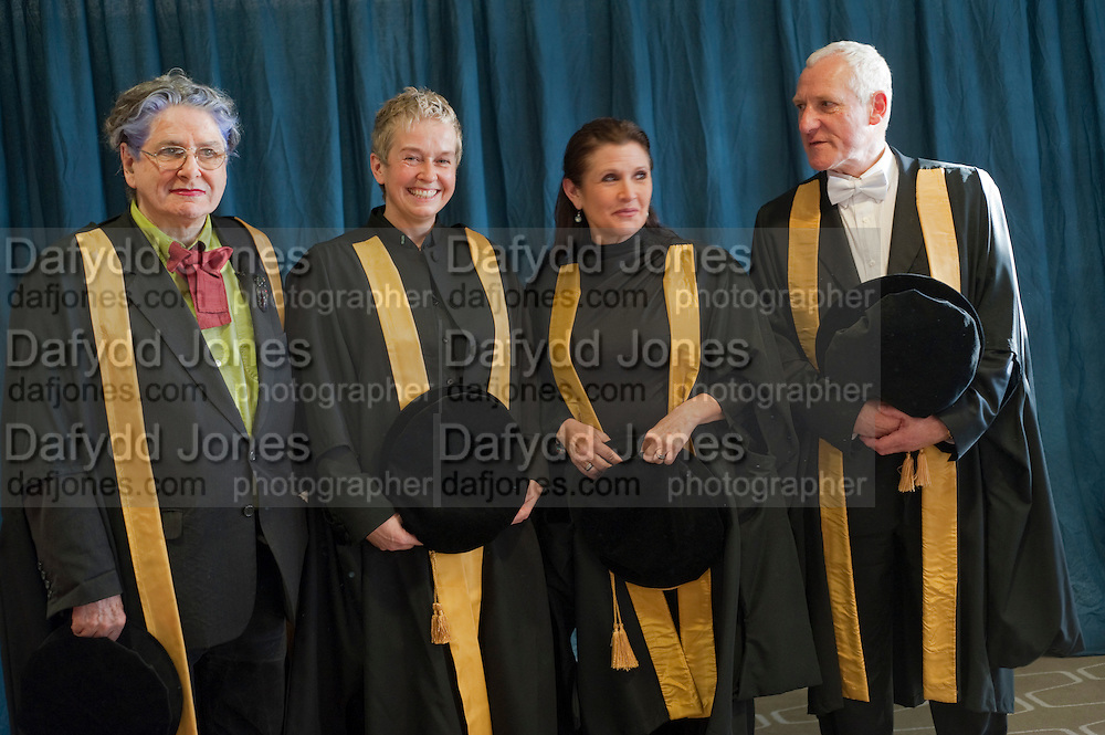BETTE BOURNE; HELEN LANNAGHAN; CARRIE FISHER; JOSEPH SELIG, . Central School of Speech and Drama presents Honory Fellowships to Carrie Fisher, Bette Bourne, Joseph Selig and Helen Lannaghan. Royal Festival Hall. London. 12 December 2011.