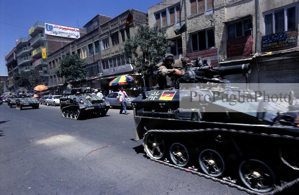 Kabul, 05 Augist 2005..German Troops, driving armoured vehicle, patrol the streets of Kabul