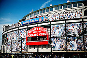 """SHOT 4/22/12 2:27:53 PM - Wrigley Field (pronounced /rli/) is a baseball stadium in Chicago, Illinois, United States that has served as the home ballpark of the Chicago Cubs since 1916. Wrigley Field is nicknamed The Friendly Confines, a phrase popularized by """"Mr. Cub"""", Hall of Famer Ernie Banks. The current capacity is 41,159, making Wrigley Field the 10th-smallest actively used ballpark. It is the oldest National League ballpark and the second oldest active major league ballpark. Chicago is the largest city in the US state of Illinois and the third most populous city in the United States, with around 2.7 million residents. Its metropolitan area, sometimes called """"Chicagoland,"""" is the third largest in the United States, with an estimated 9.8 million people within its metropolitan area. Chicago is the county seat of Cook County. Chicago has many nicknames, which reflect the impressions and opinions about historical and contemporary Chicago. The best known include: """"Chi-town,"""" """"Windy City,"""" """"Second City,"""" and the """"City of Big Shoulders. (Photo by Marc Piscotty / © 2012)"""