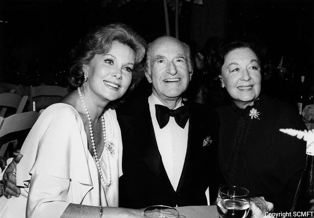 """1979 Rhonda Fleming, Mark Taper and Sally Cobb at the premiere of """"Hurricane"""" at Mann's Chinese Theater"""
