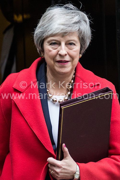 London, UK. 4th December, 2018. Prime Minister Theresa May leaves 10 Downing Street to open the debate in the House of Commons on the final Brexit deal.