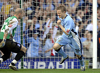 Photo. Glyn Thomas. <br /> Coventry City v Brighton and Hove Albion. <br /> Coca Cola Championship. 02/04/2005.<br /> Coventry's Gary McSheffrey (R) wheels away in delight after scoring his penalty past Brighton keeper Alan Blaney.