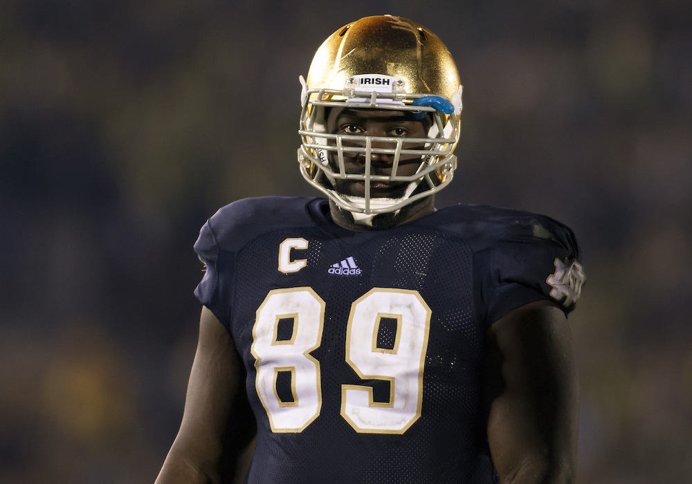 November 17, 2012:  Notre Dame defensive end Kapron Lewis-Moore (89) during NCAA Football game action between the Notre Dame Fighting Irish and the Wake Forest Demon Deacons at Notre Dame Stadium in South Bend, Indiana.  Notre Dame defeated Wake Forest 38-0.