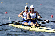 20040814 Olympic Games Athens Greece [Rowing]<br /> Photo  Peter Spurrier <br /> GBR W2- Left Kath Grainger and Cath Bishop, moves off the start on the opening day of the Olympic regatta.<br /> <br /> email;  images@intersport-images.com<br /> Tel +44 7973 819 551<br /> T<br /> <br /> <br /> [Mandatory Credit Peter Spurrier/ Intersport Images]