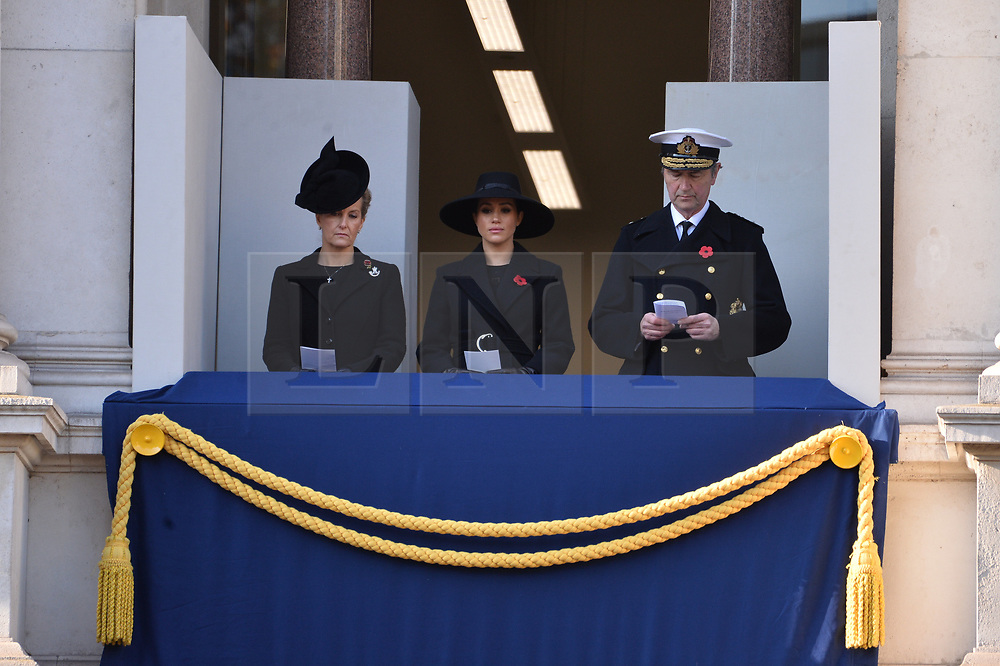 © Licensed to London News Pictures. 10/11/2019. London, UK. The Countess of Wessex and The Duchess of Sussex attend the annual remembrance ceremony marking the 101st anniversary of the end of the First World War. Photo credit: Ray Tang/LNP
