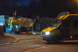 © Licensed to London News Pictures. 05/09/2020. Knowsley, UK. Extinction Rebellion block the road in Knowsley, Liverpool to prevent papers going to print. Photo credit: Kerry Elsworth/LNP