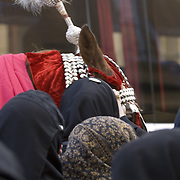 Muslim shiite womenl  wearing hijab, with decorated horse at Ashura celebrations in Glasgow, Scotland<br />
