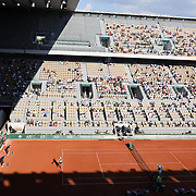 PARIS, FRANCE June 10. A general view of Barbora Krejcikova of the Czech Republic in action against Maria Sakkari of Greece on Court Philippe-Chatrier during the semi finals of the Women's singles competition at the 2021 French Open Tennis Tournament at Roland Garros on June 10th 2021 in Paris, France. (Photo by Tim Clayton/Corbis via Getty Images)