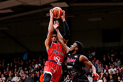 Justin Gray of Bristol Flyers takes on Deandre Burnett of Leicester Riders - Photo mandatory by-line: Robbie Stephenson/JMP - 11/01/2019 - BASKETBALL - Leicester Sports Arena - Leicester, England - Leicester Riders v Bristol Flyers - British Basketball League Championship