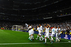May 2, 2018 - Madrid, Spain - MADRID, SPAIN. May 1, 2018 - Real Madrid squad celebration. With a 2-2 draw against Bayern Munchen, Real Madrid made it to the UEFA Champions League Final for third time in a row. Kimmich and James scored for the german squad while Karim Benzema did it twice for los blancos. Goalkeeper Keylor Navas had a great night with several decisive interventions. (Credit Image: © VW Pics via ZUMA Wire)