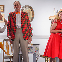 """Carol MacRae, left, George Dobbs, Karen Pettit and Eden Gloria play their parts in a rehearsal for """"Little Nell and the Mortgage Foreclosure"""" Wednesday at Old School Gallery in El Morro."""