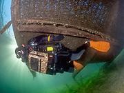 Chest Mount rebreather diver under the platform at Dutch Springs, Bethlehem, Pennsylvania