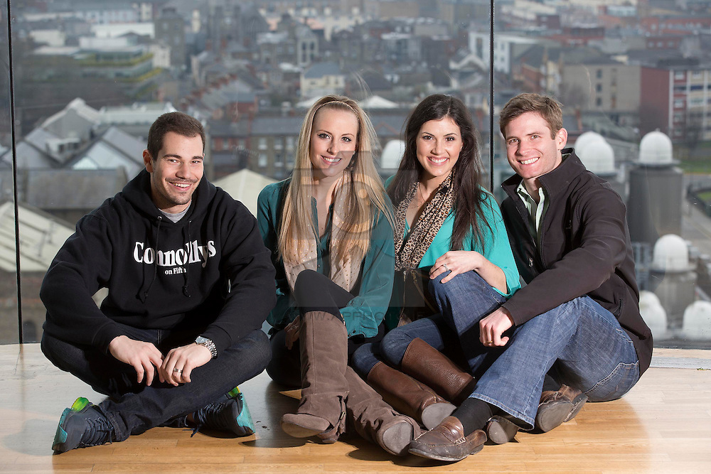 Repro FRee: 17/03/2015 Taylor and Ashley Trotter and Rachel and Robert Servideo  from the USA  pictured at the GUINNESS STOREHOUSE St. Patrick's Festival. The festival is showcasing some of Ireland's best music, food and rugby over the St Patrick's Festival. Throughout the four days the Guinness Storehouse is coming alive with Ceili flash mob performances, a variety of Irish music talent, internationally acclaimed marching bands and contemporary Irish ceili musicians performing spectacular shows. Visitors can also savour a pint of Guinness in the Gravity Bar overlooking the panoramic views of the city, enjoy the limited edition 'Guinness Beef Burger' and learn how to pour their own perfect pint of the black stuff in the Guinness Academy. Enjoy GUINNESS sensibly. Visit drinkaware.ie Picture Andres Poveda