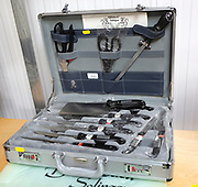Carrying case of specialist kitchen knives by Offenbach Solingen on display labelled for auction