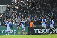 CELE - Bristol Rovers' Chris Lines celebrates scoring his side's equalising goal to make the score 1-1 in the dying seconds <br /> <br /> Photographer Ashley Crowden/CameraSport<br /> <br /> The EFL Sky Bet League One - Bristol Rovers v Blackburn Rovers - Saturday 14th April 2018 - Memorial Stadium - Bristol<br /> <br /> World Copyright © 2018 CameraSport. All rights reserved. 43 Linden Ave. Countesthorpe. Leicester. England. LE8 5PG - Tel: +44 (0) 116 277 4147 - admin@camerasport.com - www.camerasport.com