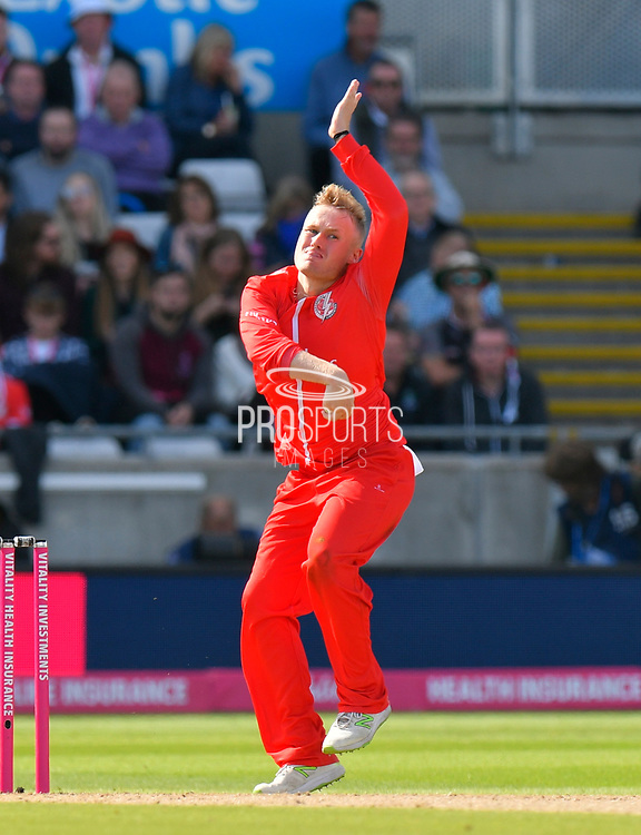 Matt Parkinson of Lancashire bowling during the Vitality T20 Finals Day Semi Final 2018 match between Worcestershire Rapids and Lancashire Lightning at Edgbaston, Birmingham, United Kingdom on 15 September 2018.