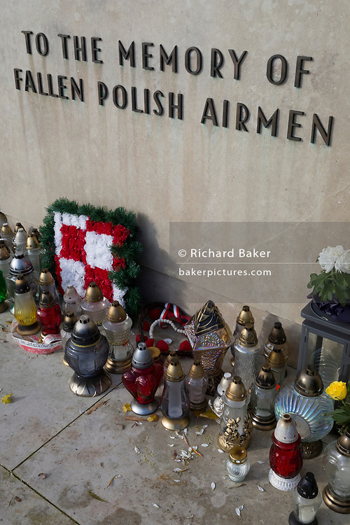 In memory of fallen WW2 Polish Air Force crews, is the Polish War Memorial, on 6th November 2019, in South Ruislip, Northolt, London, England. The Polish War Memorial is in memory of airmen from Poland who served in the Royal Air Force as part of the Polish contribution to World War II. The memorial was designed by Mieczyslaw Lubelski, who had been interned in a forced labour camp during the war. It is constructed from Portland stone with bronze lettering and a bronze eagle, the symbol of the Polish Air Force. The original intention was to record the names of all those Polish airmen who lost their lives while serving during WW2 (a total of 2,408) but there was not enough space for this and, as a compromise, the names of the 1,241 who died in operational sorties are there instead.