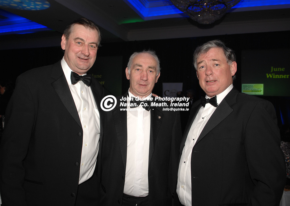 04-02-08. The Meath Chronicle/Cusack Hotels - Meath Sports Personalty of the Year Awards 2007 at the Knightsbrook Hotel, Trim. Co. Meath.<br /> L to R: Noel Meade, Barney Allen and Seamus Ross.<br /> Photo: John Quirke / www.quirke.ie<br /> ©John Quirke Photography, Unit 17, Blackcastle Shopping Cte.<br /> Navan. Co. Meath. 046-9079044 / 087-2579454.