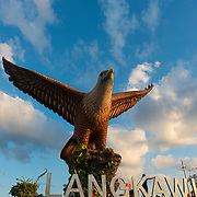Eagle monument at sunset on beautiful skies, Langkawi, Malaysia